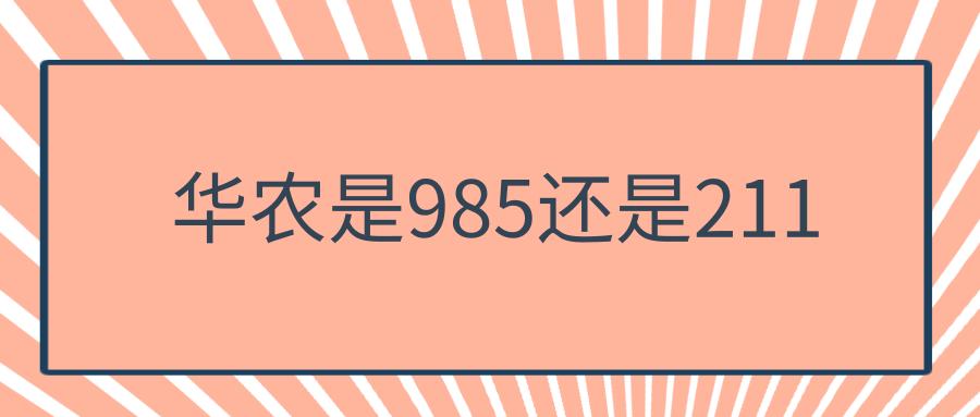 华农是985还是211