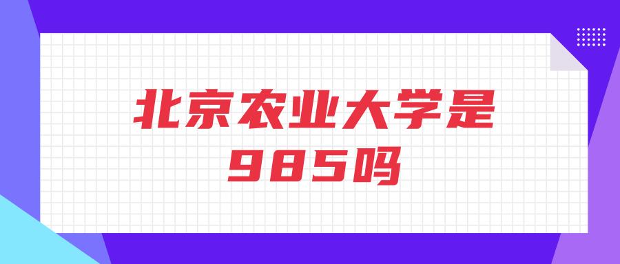 北京农业大学是985吗