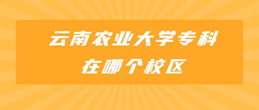 云南农业大学专科在哪个校区