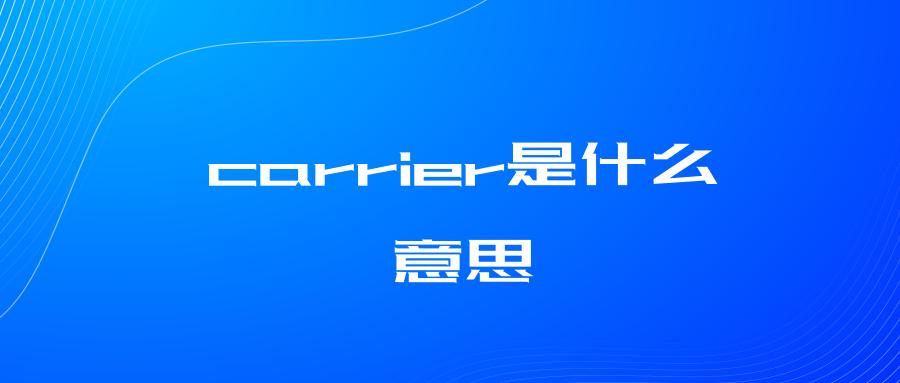 carrier是什么意思