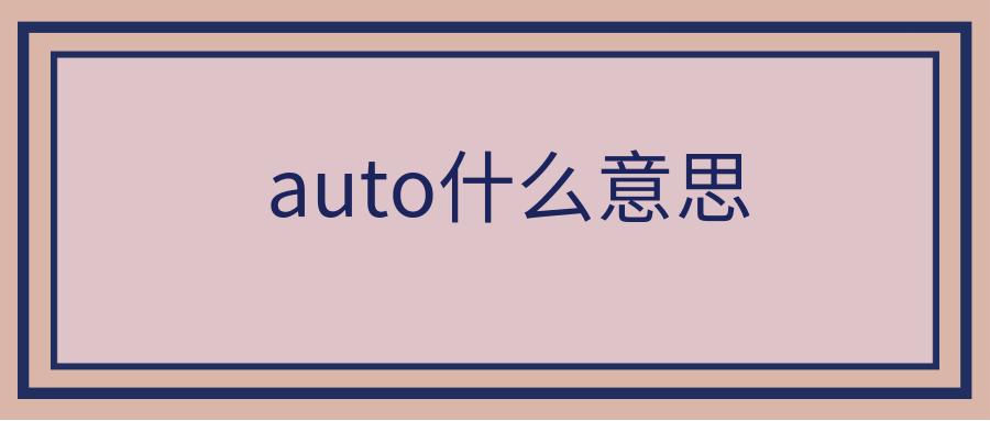 auto什么意思
