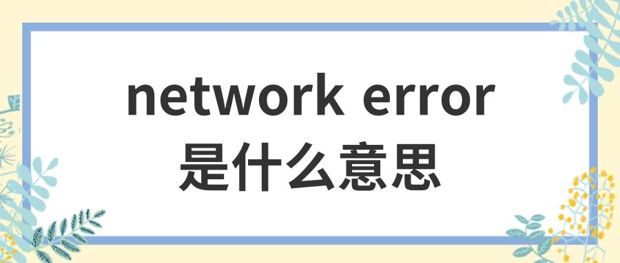 network error是什么意思
